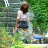 人気ない白昼の野外で青姦セックスする素人バカップルを盗撮エロ画像
