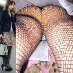 網タイツ穿いたスカート女子を狙い逆さ撮りしたパンチラ盗撮エロ画像