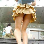 階段下からミニスカ女子の丸見えパンチラを盗撮した街撮りエロ画像