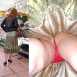 買い物するスカートの人妻熟女を逆さ撮りしたパンチラ盗撮エロ画像