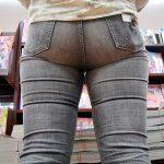 スキニーデニム穿いた素人娘のパツンパツン巨尻を街撮り盗撮エロ画像