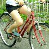 自転車に乗って正面パンチラしてるミニスカ娘を盗撮した街撮りエロ画像